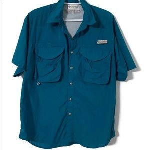 Columbia fishing shirt small turquoise